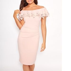 Dixey pink nude lace overlayer bardot bodycon with